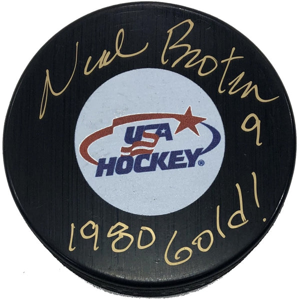 Neal Broten Autographed USA Hockey Puck 1980 Gold Inscription
