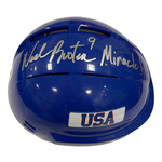 "Neal Broten Autographed Royal Blue Mini Helmet ""Miracle!"" (#1/9)"