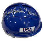 "Neal Broten Autographed Royal Blue Mini Helmet ""Miracle!"" (#9/9)"