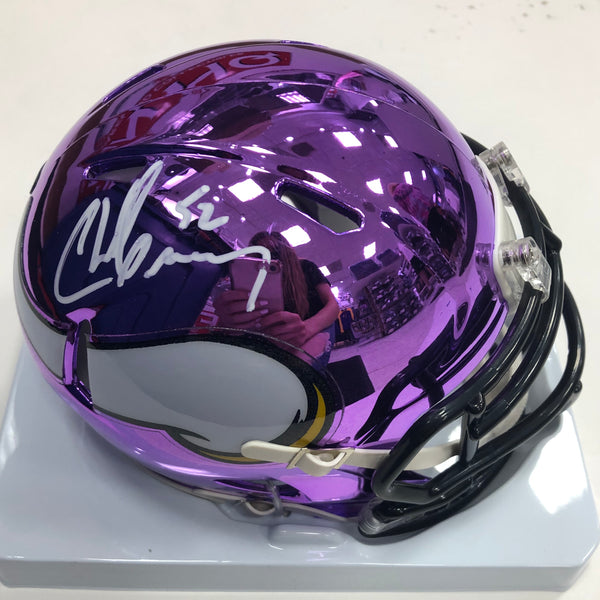 Chad Greenway Autographed Minnesota Vikings Chrome Mini Helmet