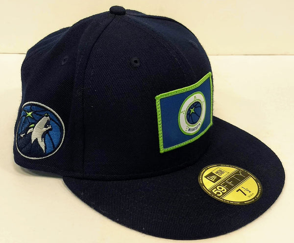 Minnesota Timberwolves New Era Navy Basketball Flag 59FIFTY Fitted Hat