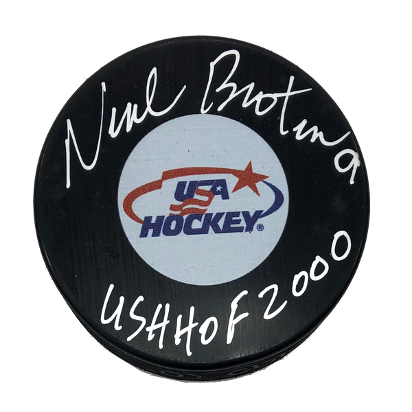 Neal Broten Autographed USA Hockey Puck US HOF Inscription