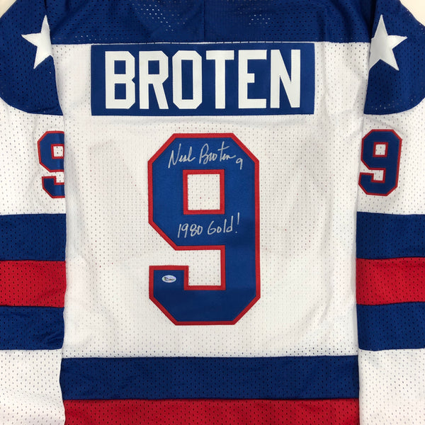 Neal Broten Autographed 1980 USA Olympic Replica Jersey w/ 1980 Gold! Inscription