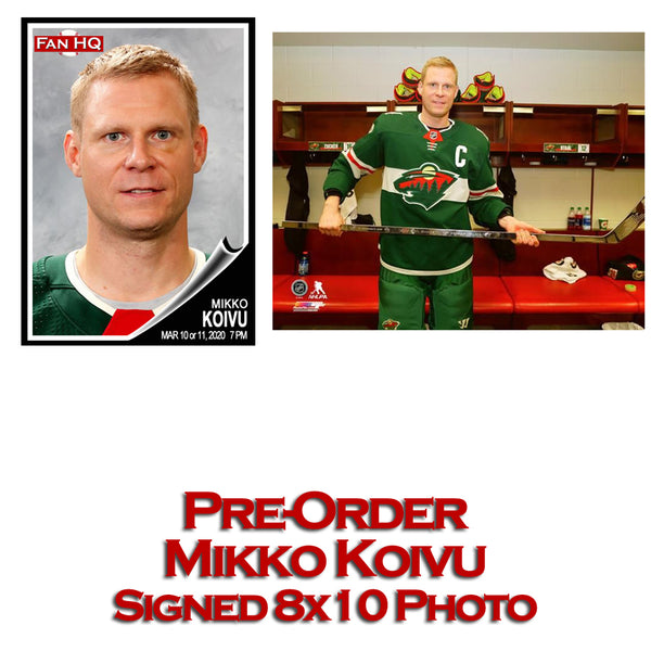PRE-ORDER Mikko Koivu Autographed 1000th Game 8x10 Photo Minnesota Wild