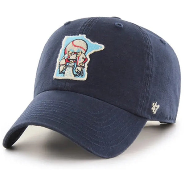 Minnesota Twins Navy Cooperstown Collection Minnie & Paul Logo '47 Clean Up Hat
