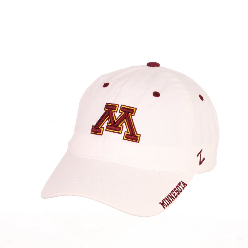 Minnesota Golden Gophers Zephyr White M Logo Adjustable Hat