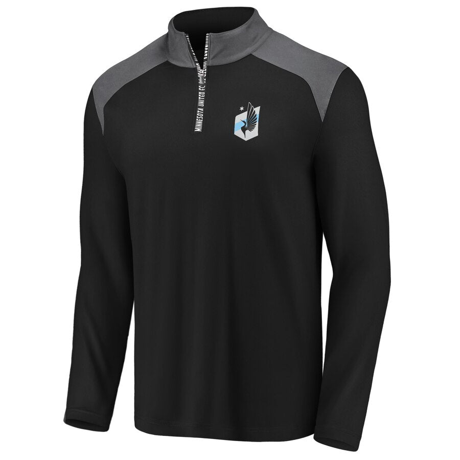 Minnesota United FC Fanatics Iconic Clutch Black/Gray 1/4 Zip Pullover Jacket