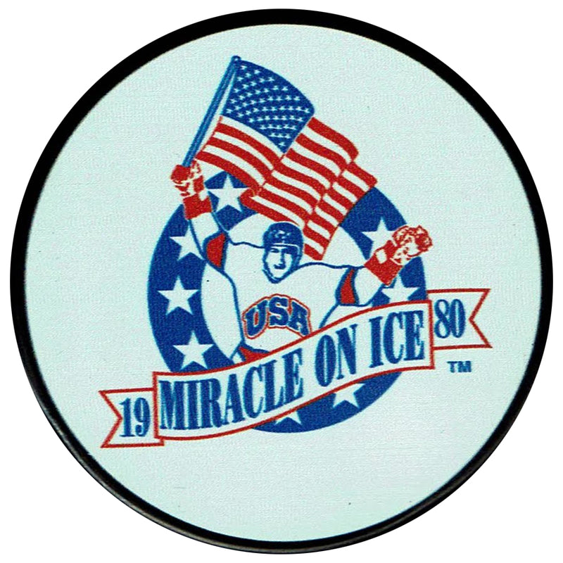 Miracle On Ice 1980 Logo Unsigned Puck w/ Case