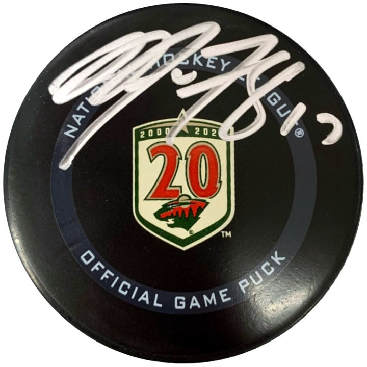 Marcus Foligno Autographed Minnesota Wild 20th Season Official Game Puck