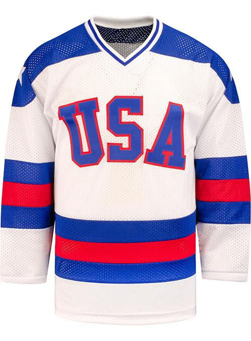 Mark Johnson Autographed 1980 USA Olympic Replica Jersey w/ 1980 Gold! Inscription