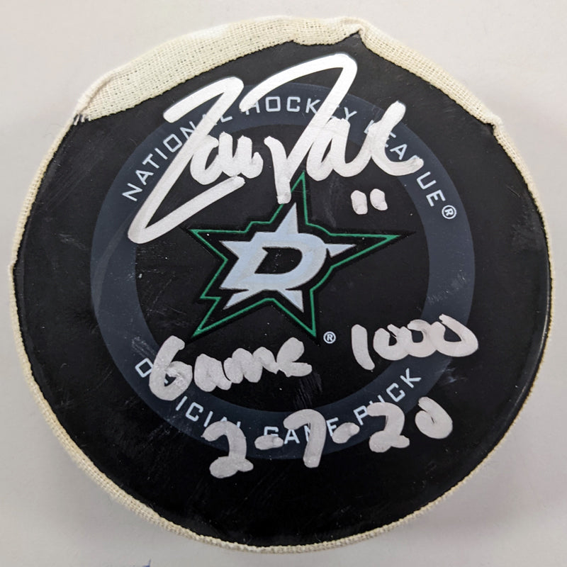 Zach Parise Autographed 1000th Game Used Ryan Donato Goal Puck Minnesota Wild