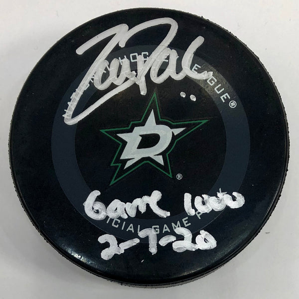 Zach Parise Autographed Dallas Official Game Puck w/ Game 1000 Inscription - 9/11