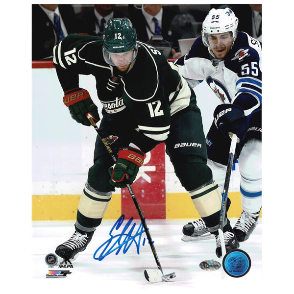 Eric Staal Autographed Minnesota Wild 8x10 Photo Green Jersey