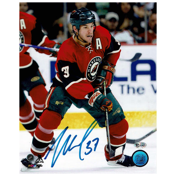 Wes Walz Autographed Minnesota Wild 8x10 Photo Red Jersey