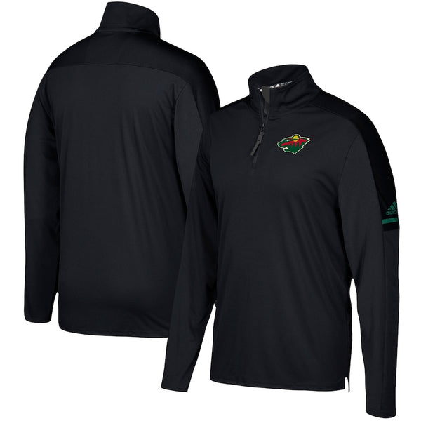 Minnesota Wild adidas Black Authentic Pro 1/4 Zip Jacket