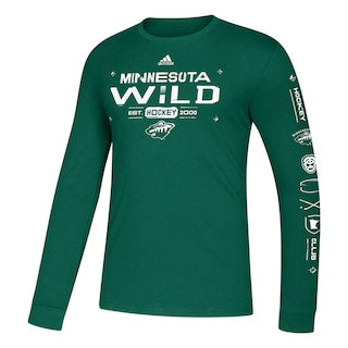 Minnesota Wild Adidas Green Amplifier Long Sleeve Tee