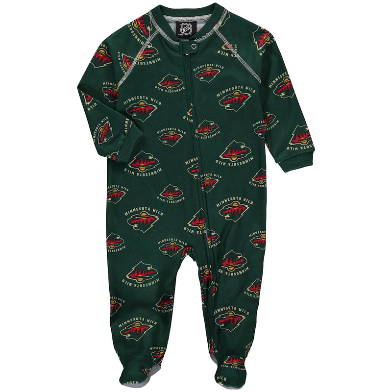 Minnesota Wild Infant Piped Raglan Full Zip Jammies