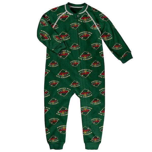 Minnesota Wild Toddler Piped Raglan Full Zip Jammies