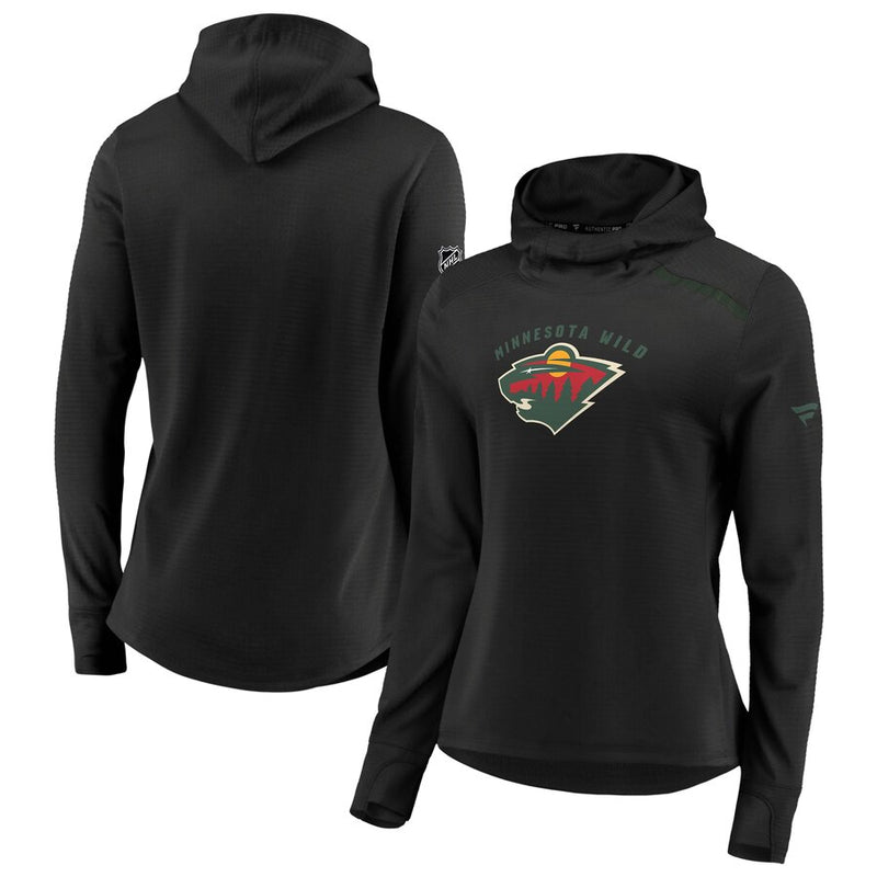 Minnesota Wild Women's Black Pro Rinkside Transitional Pullover Hoodie