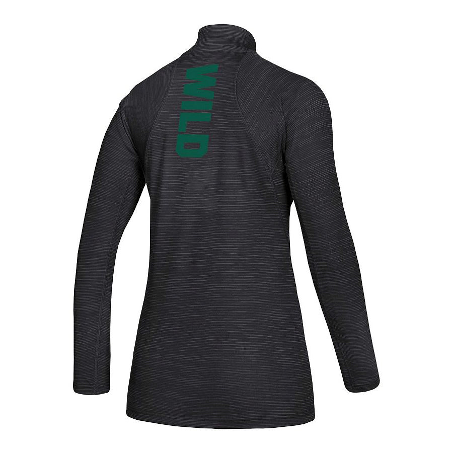 Minnesota Wild Women's adidas Black Game Mode Knit 1/4-Zip Pullover