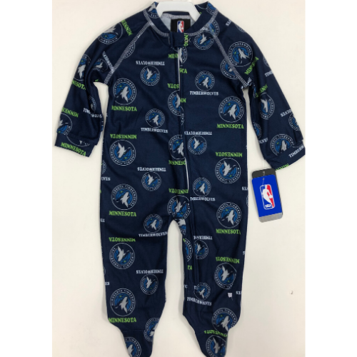 Minnesota Timberwolves Infant Piped Raglan Full Zip Jammies