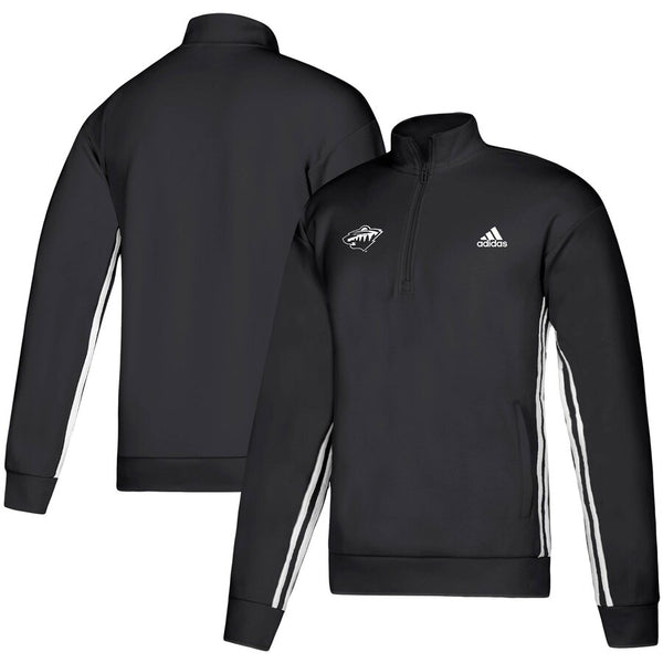 Minnesota Wild Adidas Black Must-Have Three-Stripe Track 1/4 Zip Pullover Sweatshirt