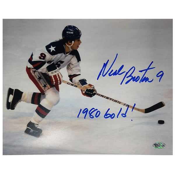 Neal Broten Autographed Team USA 8x10 Photo w/ 1980 Gold! Inscription