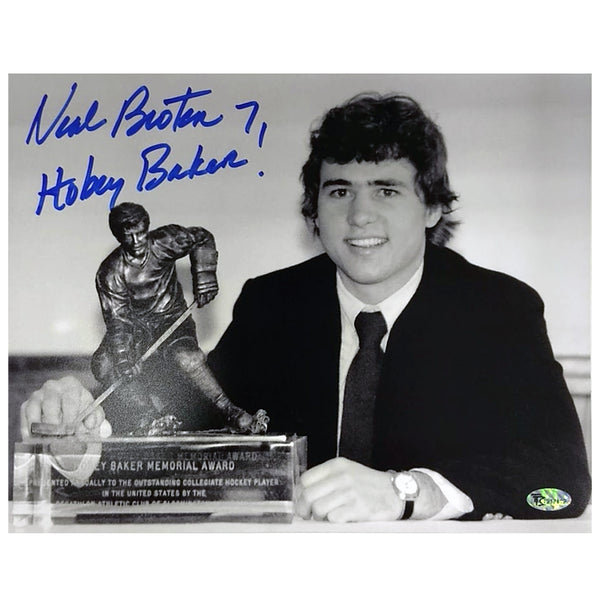 Neal Broten Autographed Hobey Baker 8x10 Photo w/ Inscription