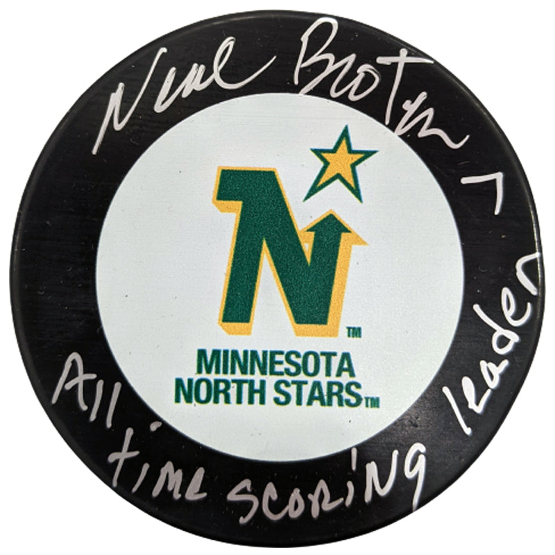 Neal Broten Autographed Minnesota North Stars Puck All-Time Scoring Leader Inscription (Numbered Edition)