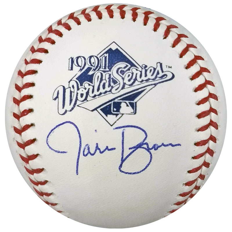 Jarvis Brown Autographed 1991 World Series OMLB Baseball Minnesota Twins