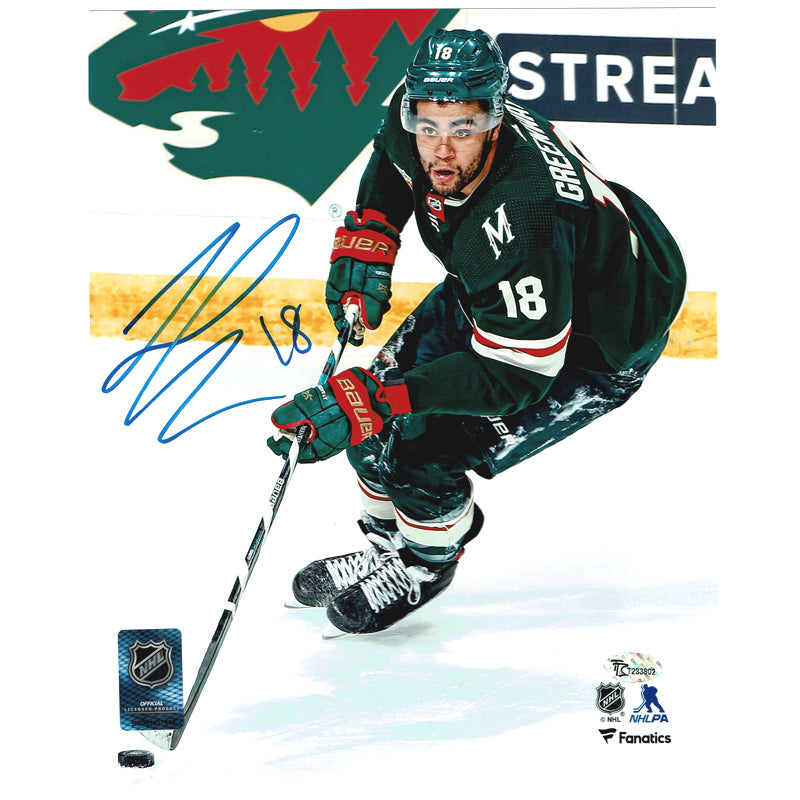 Jordan Greenway Autographed Minnesota Wild 8x10 Photo Green Jersey