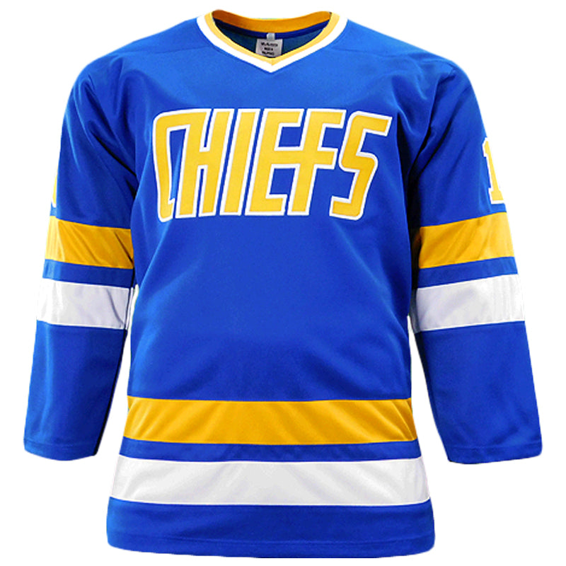 Hanson Brothers Autographed Chiefs Blue Sewn Replica Jersey
