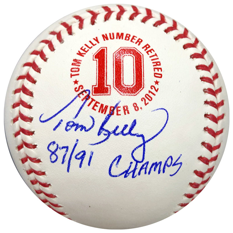 "Tom Kelly Signed and Inscribed ""87/91 Champs"" Fan HQ Exclusive Number Retired Baseball Minnesota Twins (Number 10/10)"