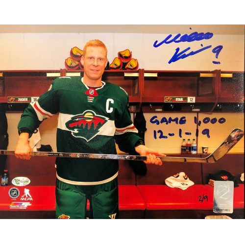 Mikko Koivu Signed and Inscribed 1,000 NHL Game 8x10 Photo (Standard Number)