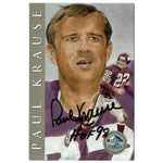 PRE-ORDER Paul Krause Autographed 1998 Ron Mix Hall of Fame Card