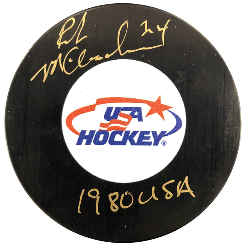 Rob McClanahan Autographed USA Hockey Puck 1980 USA Inscription