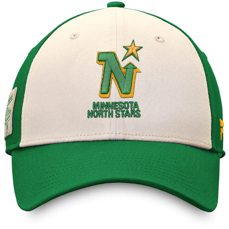 Minnesota North Stars Cream/Kelly Green Fanatics True Classics Snapback Hat
