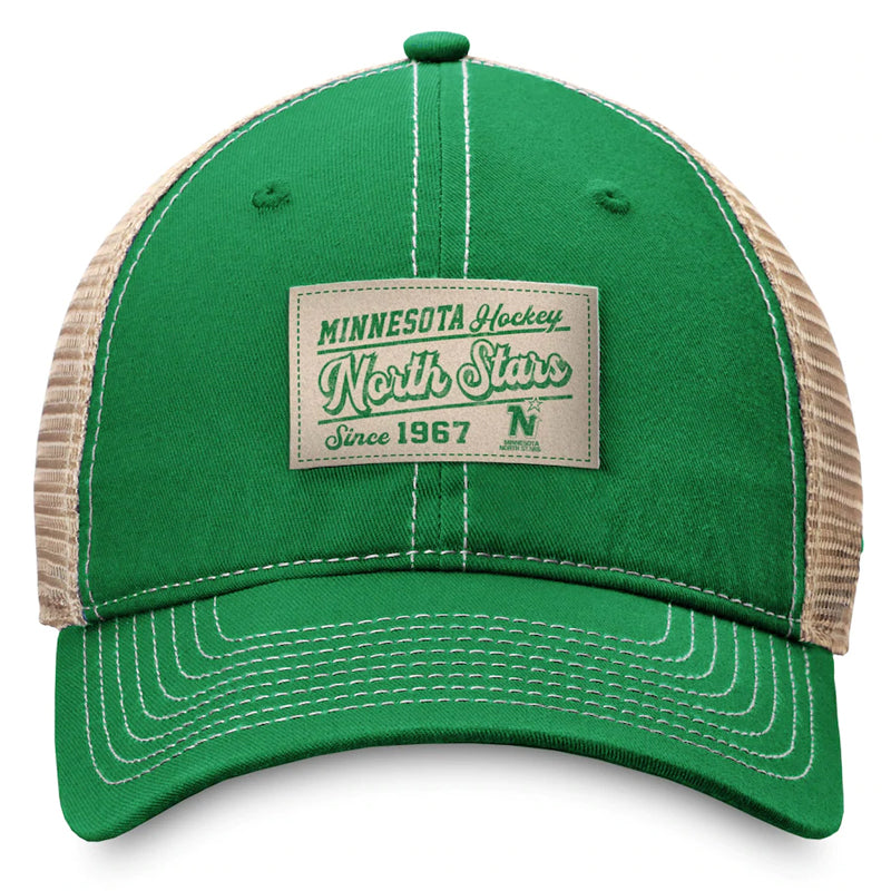 Minnesota North Stars Green/Natural Fanatics True Classics Trucker Snapback Hat