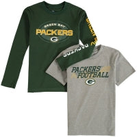 Green Bay Packers Youth Gray/Green 3-in-1 Long/Short Sleeve Combo T-Shirt