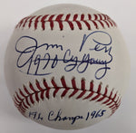 Jim Perry Autographed OMLB Baseball w/ 1970 Cy Young & 1965 AL Champs Inscriptions Minnesota Twins