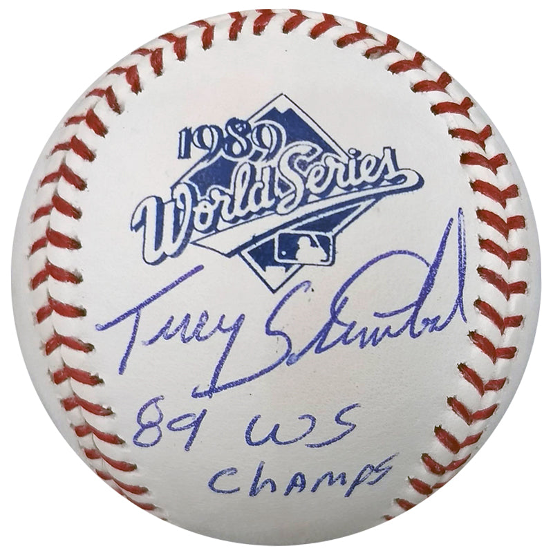 Terry Steinbach Autographed 1989 World Series Baseball w/ WS Champs Inscription Oakland Athletics