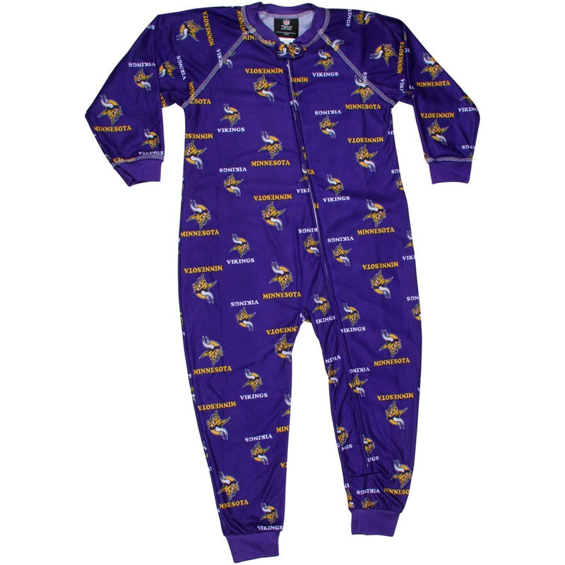 Minnesota Vikings Infant Piped Raglan Full Zip Jammies