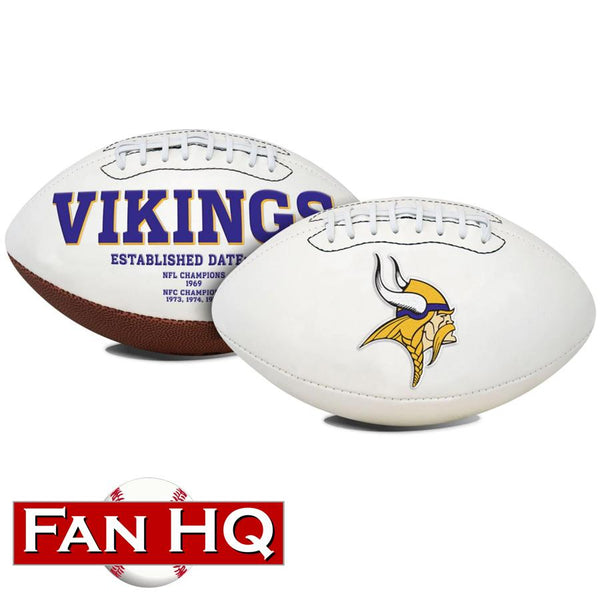 PRE-ORDER: Chuck Foreman Autographed Vikings Logo Football (With or Without Inscription)