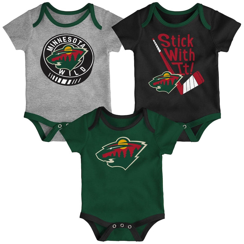 Minnesota Wild Newborn & Infant Born To Win 3-Pack Creeper/Onesie Set