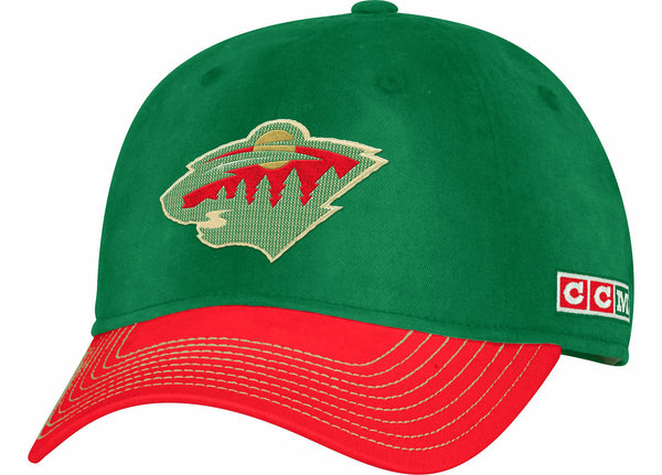 Minnesota Wild CCM Team Color Green Slouch Adjustable Hat