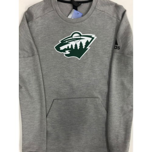 Minnesota Wild Adidas Gray Stadium ID Crew Neck Sweatshirt w/ Pocket
