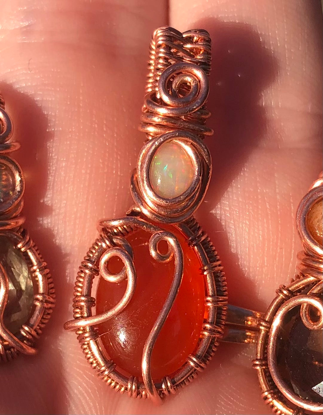 Carnelian and opal in copper