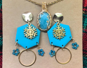 Laminar pendant and polymer clay/ apatite earrings