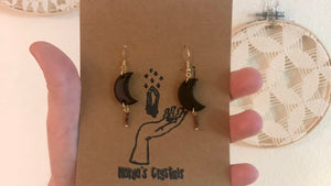 Garnet moon earrings