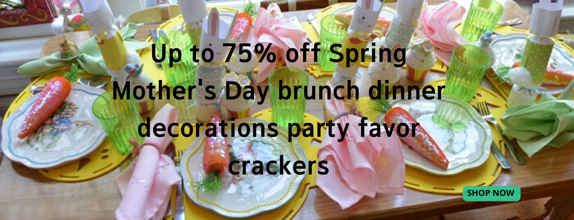 Save up to 75% off Spring Mother's Day decorations party favor crackers from BestPartyCrackers!